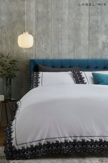 Mix/Caroline Issa 100% Cotton Embroidered Duvet Cover and Pillowcase Set