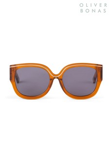 Oliver Bonas棕色Athens粗框和金屬太陽眼鏡