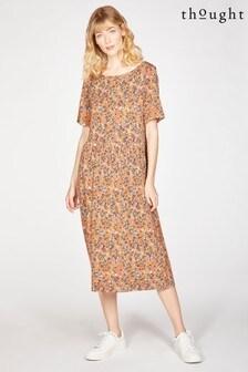 שמלה מתרחבת דגםAntonia בצבע חום שלThought