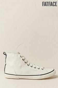 FatFace Organic Hi-Top-Sneaker zum Schnüren, Weiß