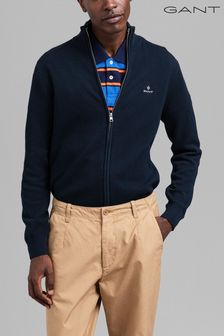 GANT Blue Cotton Pique Zip Cardigan