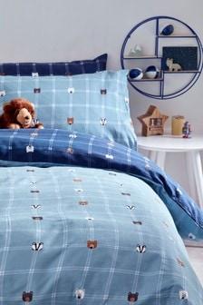 Poszewka na kołdrę i poduszkę w kratę z niedźwiadkami, dwustronna z bawełny czesanej 100%, w komplecie