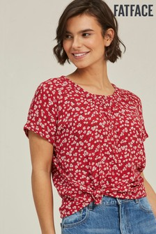 FatFace Lizzie Breeze Bluse mit Blumenmuster, Rot