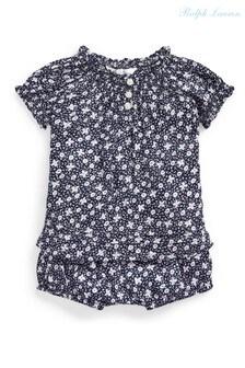סט חולצת טי ותחתונים של Ralph Lauren בצבע כחול כהה פרחוני