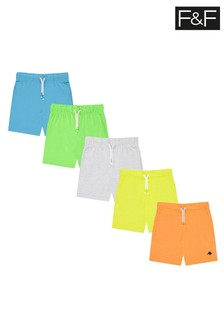 F&F Multi Neon Jersey Shorts Five Pack