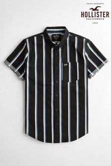 Chemise à rayures Hollister noire