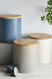 Set of 3 Kya Reactive Glaze Kitchen Storage Jars
