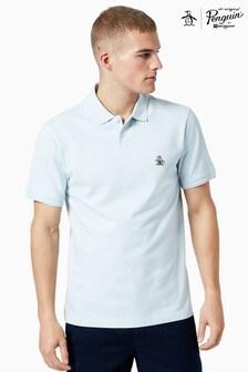 Original Penguin® Blue Short Sleeve Sticker Pete Raised Rib Poloshirt