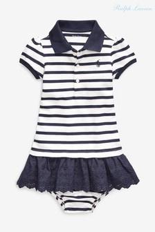Ralph Lauren Cream/Navy Striped Polo Dress