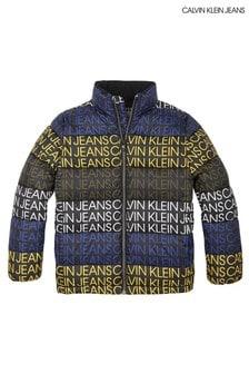 ז'קט שחור מרופד של Calvin Klein עם הדפס אול-אובר