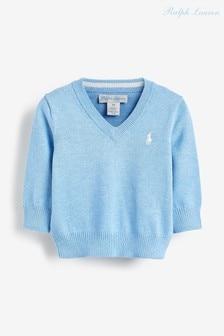 סוודר כחול שלRalph Lauren עם לוגו