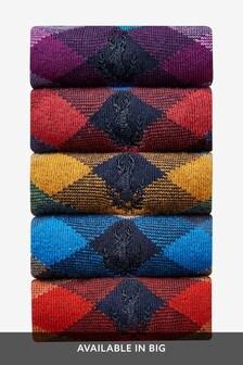 Argyle Pattern Socks Five Pack