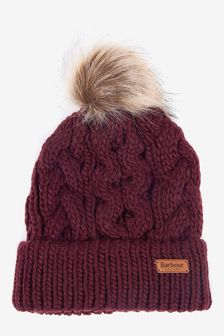 Barbour® Cable Knit Beanie With Faux Fur Pom