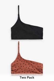 Bikinové skrátené topy na jedno rameno, 2 ks
