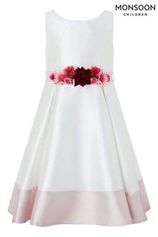 Šaty slonovinovej farby Monsoon Ivory Jazzie s kvetovaným opaskom