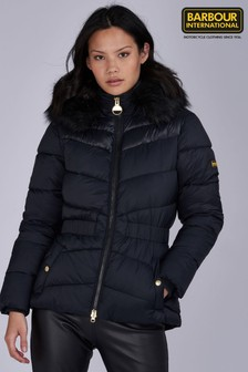 Barbour® International Hooded Faux Fur Trim Checkside Padded Jacket
