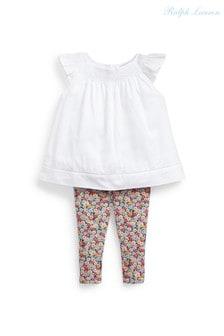 Ralph Lauren White Blouse And Floral Leggings Set
