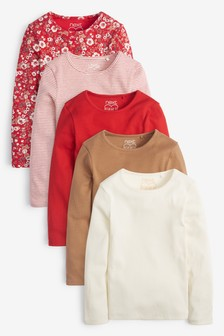 5 Pack Red Ditsy Long Sleeve Ribbed T-Shirts (3-16yrs)
