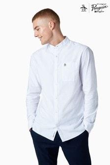 חולצה בצבעלבן עם שרוולים ארוכיםמכותנה של Original Penguin®