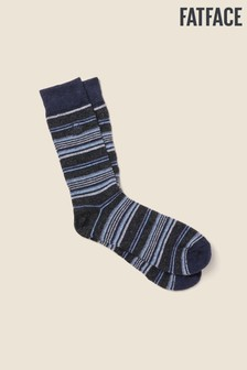 FatFace Grey/Blue Mix Wool Blend Stag Socks