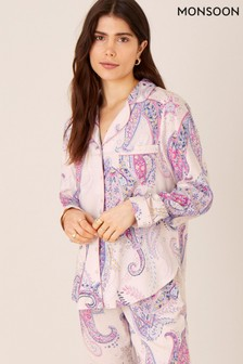 Monsoon Pink Paisley Print Pyjama Shirt