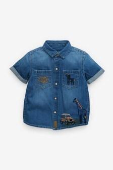 Short Sleeve Safari Embroidered Shirt (3mths-7yrs)