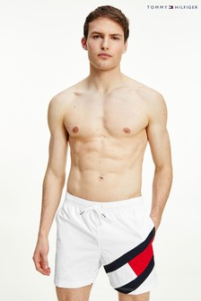 Tommy Hilfiger White Solid Flag Swim Shorts