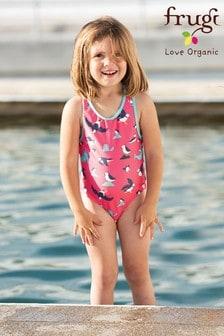 Frugi Oeko Tex Racer Back Swimming Costume - Pink Puffin