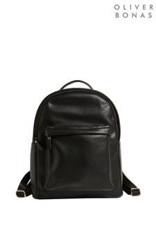 Oliver Bonas Zuri Black Rounded Medium Backpack