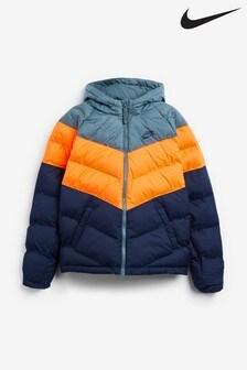 Сине-серая дутая куртка Nike