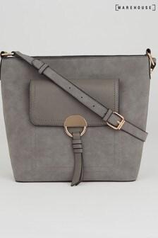 Warehouse Grey Pocket Slouchy Cross Body Bag