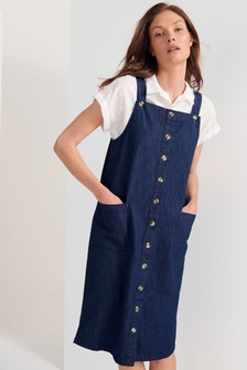 White Stuff Blue Shelley Denim Pinafore
