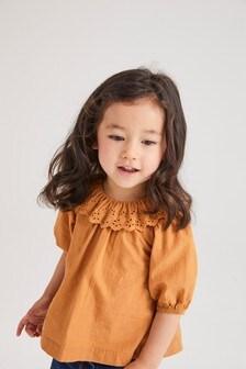 Блузка с воротником-оборкой  (3 мес.-7 лет)