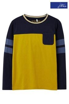 Tričko zlatej farby Joules Renford s rôznofarebnými časťami