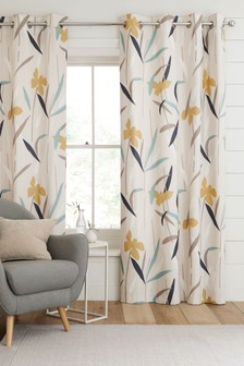 Modern Floral Eyelet Curtains