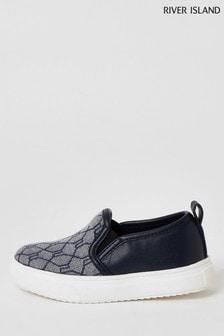 River Island Navy Jacquard Slip-On Shoes