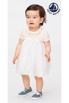 Petit Bateau Kleid mit Tupfen, Weiß/Goldfarben