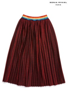 חצאית קפלים אדומהמנצנצת עם חגורתגומי בצבעי הקשתשלSonia Rykiel