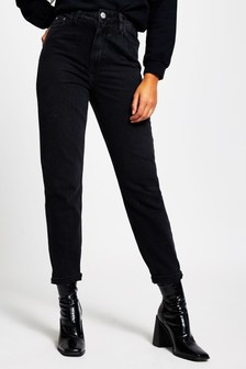 River Island Black Carrie Washed High Waisted Jeans