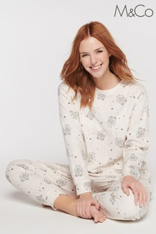 M&Co Natural Fleece Owl Pyjama Set