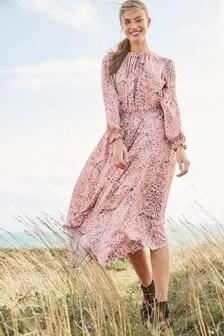 Платье миди с длинными рукавами