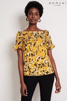 Damsel In A Dress Yellow Consta Frill Print Blouse