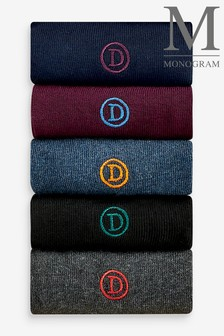 Monogram Embroidered Socks Five Pack