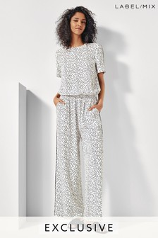 Mix/Cefinn White Printed Wide Leg Jumpsuit