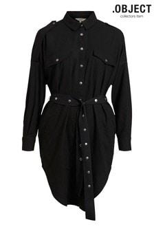 Object Black Denim Wrap Midi Dress