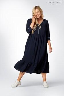 Live Unlimited Blue Plain V-Neck Tiered Midi Dress
