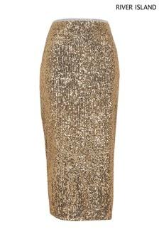 River Island Gold Sequin Midi Skirt