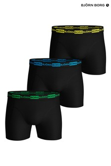 Bjorn Borg Black Sammy Seasonal Neon Boxer Shorts Three Pack
