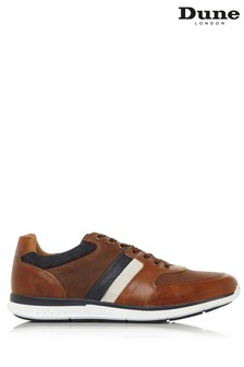 Dune London Token Tan Leather Stripe Elastic Lace-Up Trainers