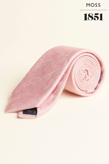 Moss 1851 effen roze en groene stropdas van zijde, linnen en viscose